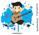 young boy playing acoustic... | Shutterstock .eps vector #776749579