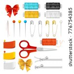 realistic 3d sewing tools... | Shutterstock .eps vector #776754385