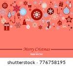 decorative winter card ... | Shutterstock .eps vector #776758195