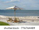 white color recliner beach... | Shutterstock . vector #776764489
