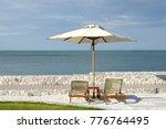 white color recliner beach... | Shutterstock . vector #776764495