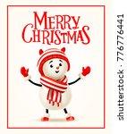 merry christmas. snowman on a...   Shutterstock . vector #776776441