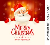 santa claus with big signboard. ... | Shutterstock . vector #776777254