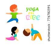 yoga for kids flat vector... | Shutterstock .eps vector #776782591