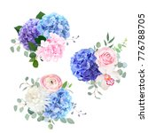 blue  pink and purple hydrangea ... | Shutterstock .eps vector #776788705