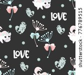 seamless pattern with romantic... | Shutterstock .eps vector #776789515