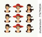 beautiful lady in hat with... | Shutterstock .eps vector #776796034