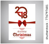 christmas card with red ribbon... | Shutterstock .eps vector #776797681
