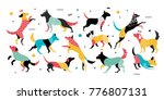 set of dogs in pop art style.... | Shutterstock .eps vector #776807131