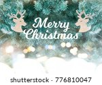 merry christmas greeting card... | Shutterstock . vector #776810047