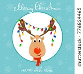 the head of happy reindeer with ... | Shutterstock .eps vector #776824465