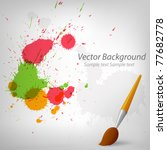 Vector illustration. Colorful paint background with cartoon paintbrush EPS10 - stock vector