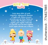 winter background with kids   Shutterstock .eps vector #776827885