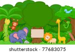 Stock vector illustration of cute jungle animals with blank board 77683075