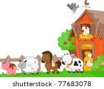 illustration of farm animals... | Shutterstock .eps vector #77683078