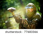 Paintball sport player wearing...