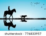 woman riding a horse and dog...   Shutterstock . vector #776833957