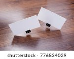 mockup of white business cards...   Shutterstock . vector #776834029