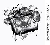 black and white turntable ... | Shutterstock .eps vector #776835277