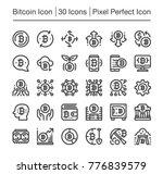 bitcoin line icon editable... | Shutterstock .eps vector #776839579