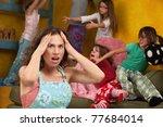 upset mother with hands on head ... | Shutterstock . vector #77684014