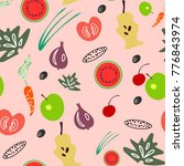 seamless pattern from fruit and ...   Shutterstock . vector #776843974
