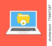 laptop with file protection on... | Shutterstock .eps vector #776847187