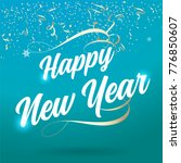 happy new year typography card | Shutterstock .eps vector #776850607