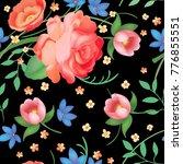 shabby chic vintage roses ... | Shutterstock .eps vector #776855551