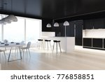 black and white dining room... | Shutterstock . vector #776858851