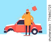 man cleans from the snow car....   Shutterstock .eps vector #776861725