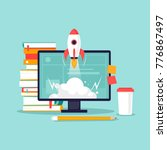 start up  computer  books ... | Shutterstock .eps vector #776867497