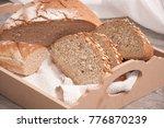 sliced organic whole grain loaf ... | Shutterstock . vector #776870239