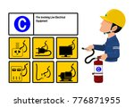 set of class c fire icon and ... | Shutterstock .eps vector #776871955