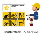 set of class d fire icon and ... | Shutterstock .eps vector #776871961