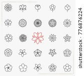 flower line icons set | Shutterstock .eps vector #776876224