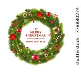 xmas wreath with text with... | Shutterstock .eps vector #776880274