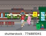 local train in railway station | Shutterstock .eps vector #776885041