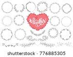 laurels and wreaths hand drawn... | Shutterstock .eps vector #776885305