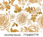 Stock vector garden roses and briar gold flowers leaves branches and berries on white background floral 776885779