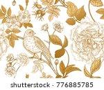 garden flowers roses  peonies... | Shutterstock .eps vector #776885785