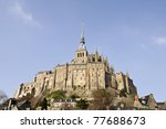 Historic abbey Mont  St. Michel in france - stock photo