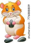 cute hamster holding sunflower... | Shutterstock .eps vector #776888809