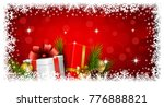 christmas gifts boxes and balls ... | Shutterstock .eps vector #776888821