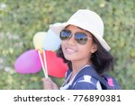 beautiful girl with short hair... | Shutterstock . vector #776890381