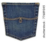 Blue Jeans Pocket Isolated On...
