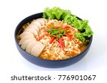spicy instant noodle soup with... | Shutterstock . vector #776901067