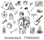 camping equipment set  outdoor... | Shutterstock .eps vector #776902651