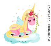 cute unicorn baby  magical... | Shutterstock .eps vector #776916427