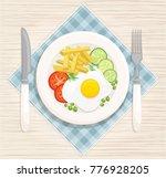 a hearty breakfast of fried... | Shutterstock .eps vector #776928205